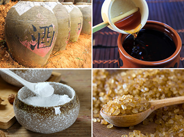 酒、醋、盐、糖这四种调味品,是普遍使用于食物保存的天然防腐剂。