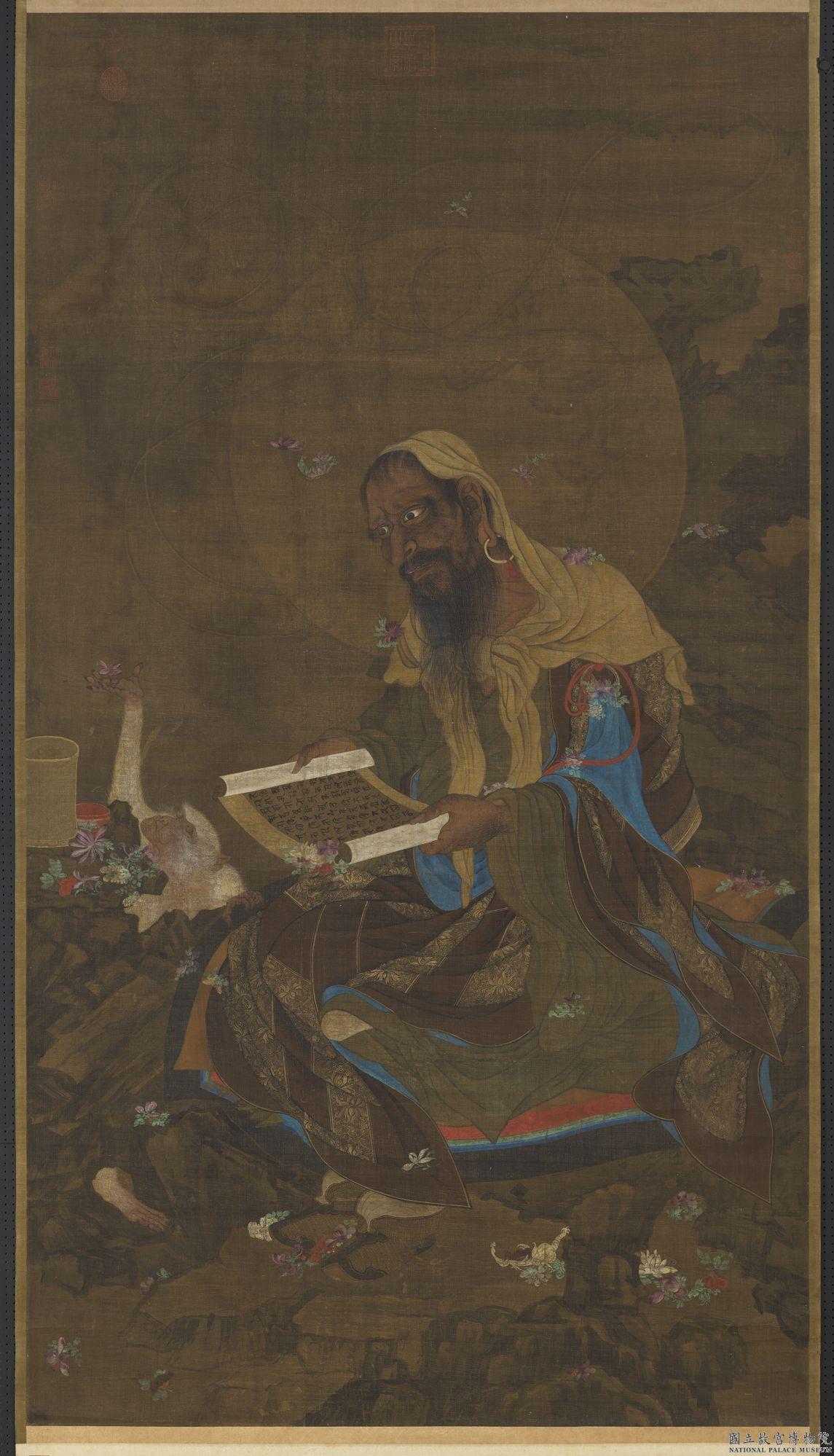 趙昀曾於夢中看到二個胡僧,聽到他們說:「二十年後,這座殿應還給小僧。」圖為元人 《宣梵雨花圖》。(公有領域)