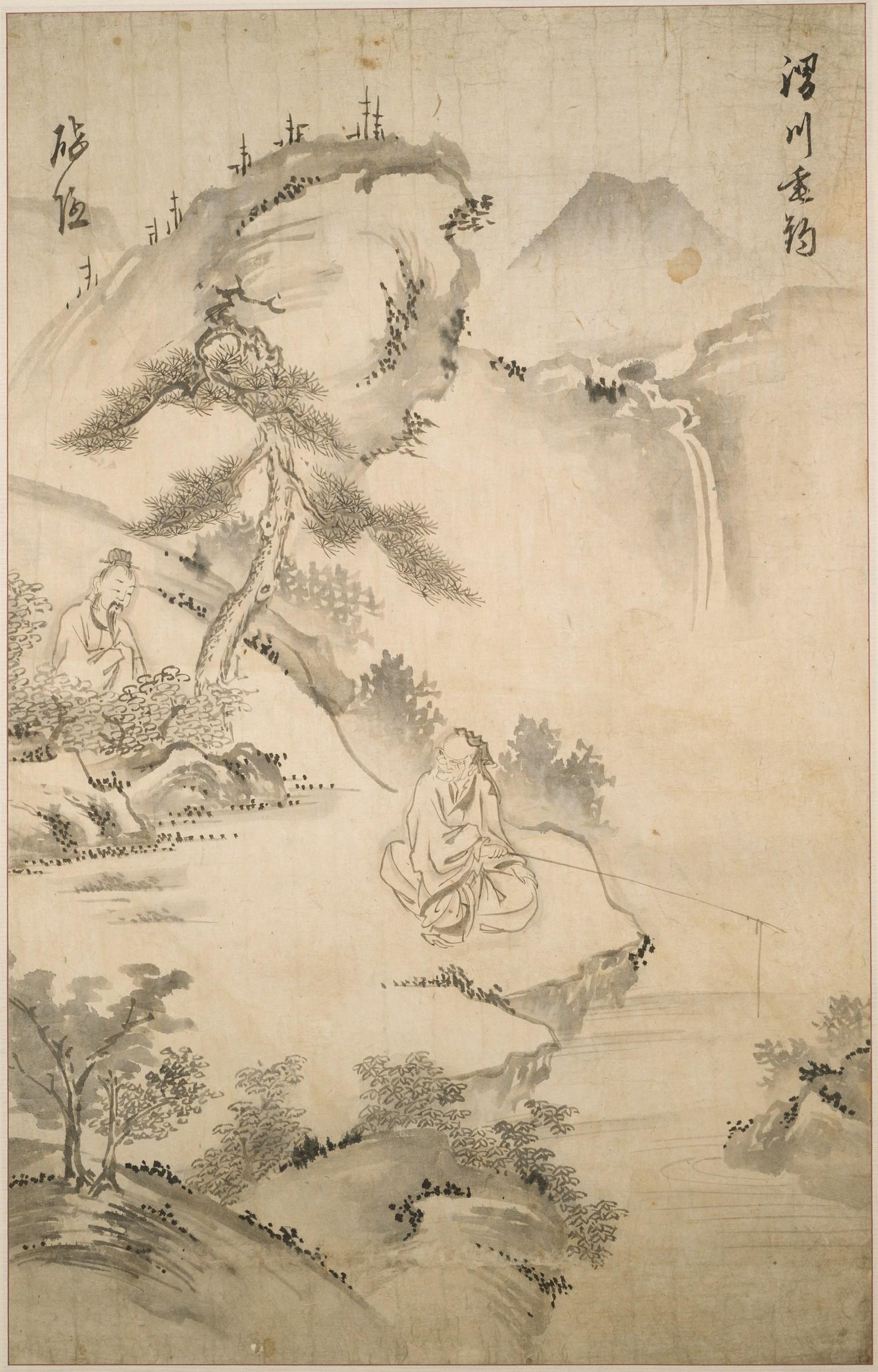 周文王渭水邊遇姜太公,出古代朝鮮繪畫,哈佛大學佛格美術館藏。(公有領域)
