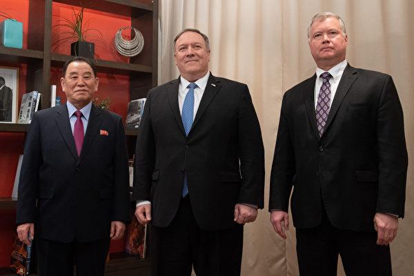 周五(1月18日)早上,北韓特使金英哲(左)在與美國國務卿蓬佩奧和美國駐北韓特使斯蒂芬‧別根(Stephen Biegun,右)在華盛頓市中心杜邦環島酒店舉行閉門會談(SAUL LOEB / AFP)