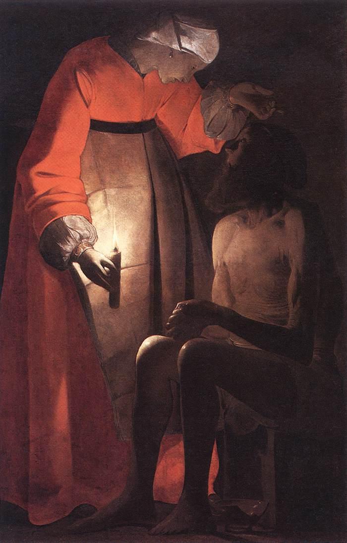 [法] 喬治·德·拉圖爾,《被妻子嘲笑的約伯》,布面油畫,作於1630年代。(公有領域)