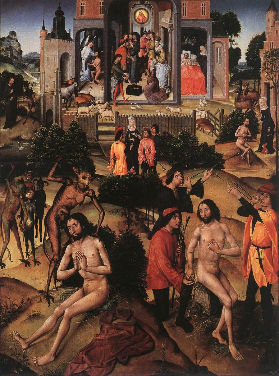 佛蘭德斯佚名大師,《約伯生平》,板上油畫,約作於1480—1490年。(公有領域)