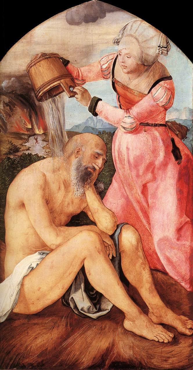 [德] 阿爾布萊希特·丢勒,《約伯與他的妻子》,板上油畫,約作於1504年。(公有領域)