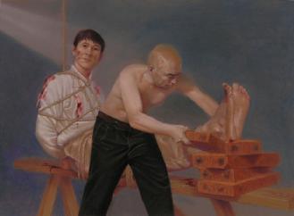 中共酷刑迫害示意圖:老虎凳。(明慧網)