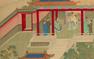 《帝鉴图说》插图《宾礼故人》,描绘光武帝刘秀把严光请进宫中,两人推杯换盏,把酒叙旧。(公有领域)
