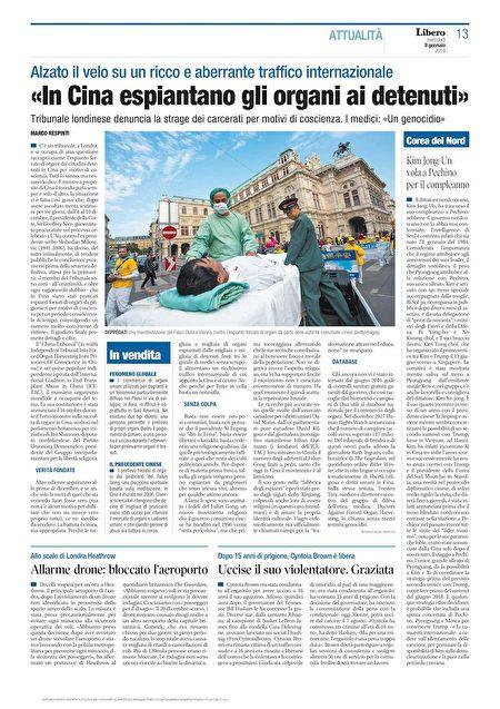 2019年1月9日,意大利全國發行的自由日報(LIBERO)報導英國「獨立人民法庭」審理中共活摘器官罪行的相關文章。(明慧網)
