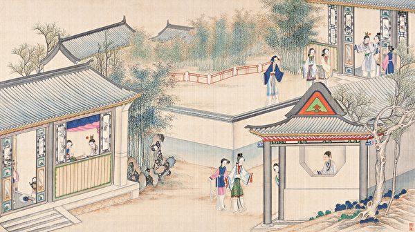 清 孫溫繪《全本紅樓夢》第20-21回插圖。(公有領域)