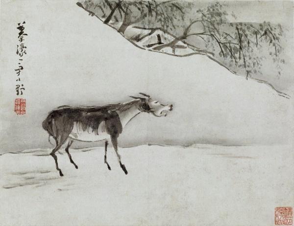 「熬了八年,結果我這頭驢給累死了。」圖為清高其佩指畫畫《驢鳴圖》,美國馬里蘭州沃爾特斯美術館藏。(公有領域)