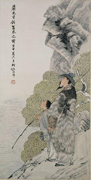 齊國上書說,江邊有個一位男子,披著羊皮衣服在沼澤中垂釣,長得有些像嚴光。圖為清任伯年作《嚴先生釣富春之圖》。(公有領域)