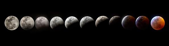 這張合成圖片顯示了2019年1月20日在美國佛羅里達州邁阿密「超級血狼月」的整個月全食階段。(GASTON DE CARDENAS/AFP/Getty Images)