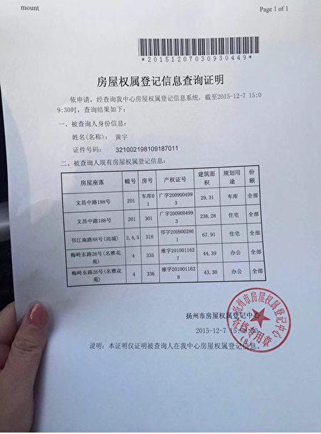 王燕茹舉報信中黃宇的房產證明信息。(受訪者提供)