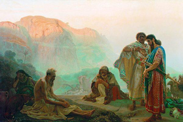 [俄] 伊利亞·列賓,《約伯和他的朋友們》,布面油畫,1869年作。(公有領域)