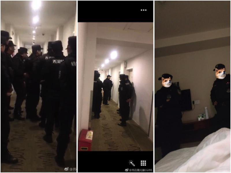 各地草根難友13日抵達杭州,杭州警方連夜查房抓人。(知情者提供)