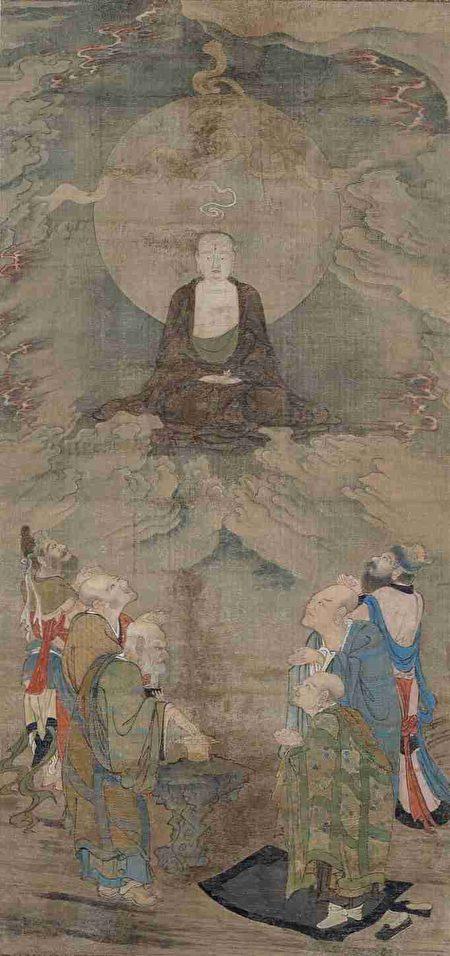 南宋 周季常《五百罗汉图轴》之《云中示现》,美国波士顿美术馆藏。(公有领域)