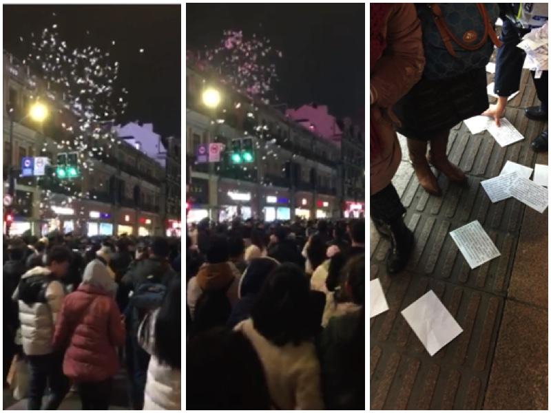 上海冤民新年前夜在市中心高空撒傳單