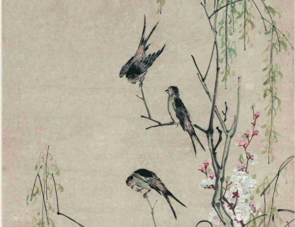 周君的三個兒子也許就是那三隻燕子轉世。圖為清李鱔《桃花柳燕圖》(局部)。(公有領域/大紀元製圖)