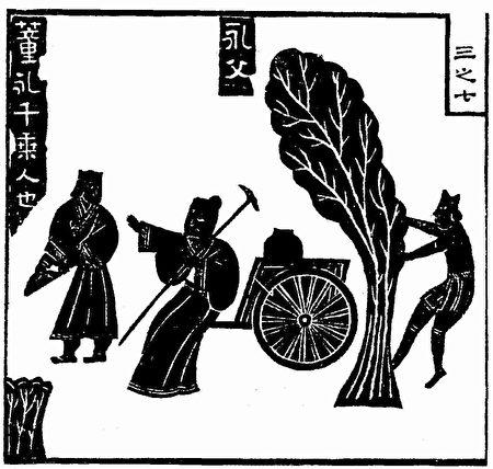 董永辘车载父,出汉代武梁祠画像石,1821年冯云鹏《金石索》中的复原图。(公有领域)