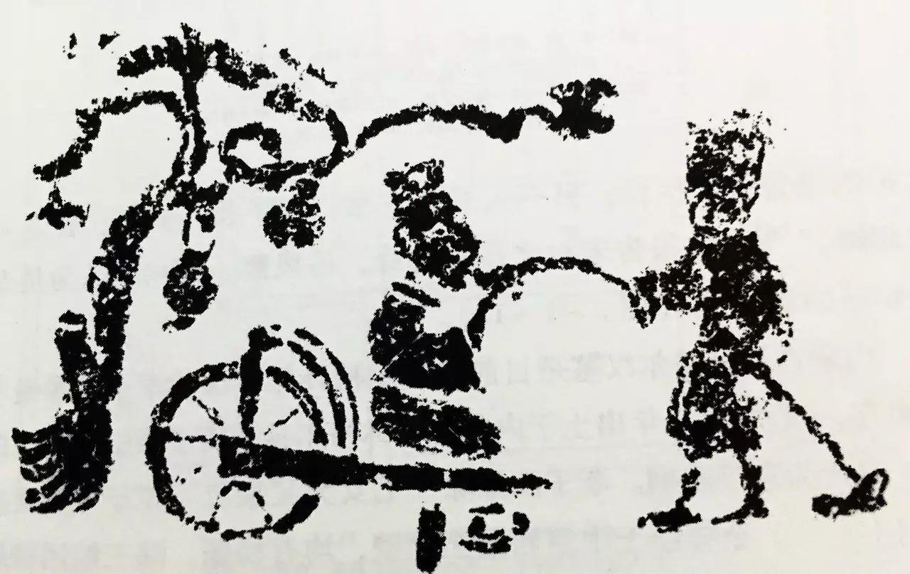 董永事父,西漢晚期畫像石,四川渠縣蒲家湾無銘闕樓部背面。(公有領域)