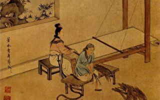 清王素绘《二十四孝图》之《董永卖身葬父》。(公有领域)