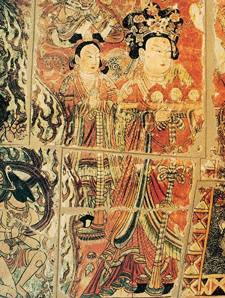 柏孜克里克石窟第32窟壁畫《貴婦禮佛像》。(公有領域)