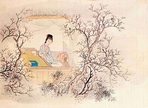 妙玉像,清費丹旭繪《十二金釵圖冊》,絹本設色,北京故宮博物院藏。(公有領域)
