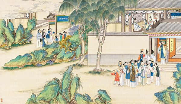賈寶玉品茶櫳翠庵,清孫溫繪《紅樓夢》第41回插圖。(公有領域)