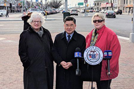 州參議員史塔文斯基、市議員顧雅明、第七社區委員會經理Marilyn McAndrews,呼籲紐約市交通局儘速完成北方大道的道路標線。