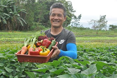 溪畔聯合有機農場農友鄒仁方說,耕作5年有機蔬果,過程非常艱辛,但贏得的是全家人的健康,這是他最大的收穫。