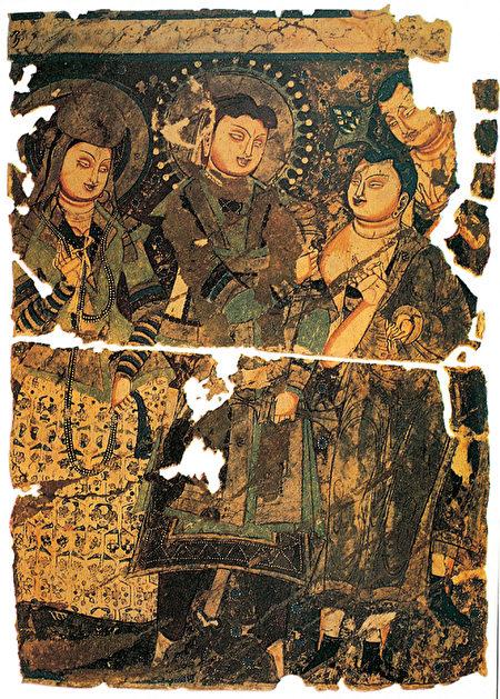 龟兹国王托提卡及王后像,克孜尔第205窟壁画,德国柏林印度艺术博物馆藏。(公有领域)