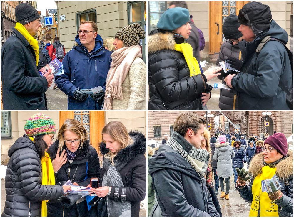 戴黃色圍巾的法輪功學員向民眾講述中共迫害法輪功的事實真相。(明慧網)