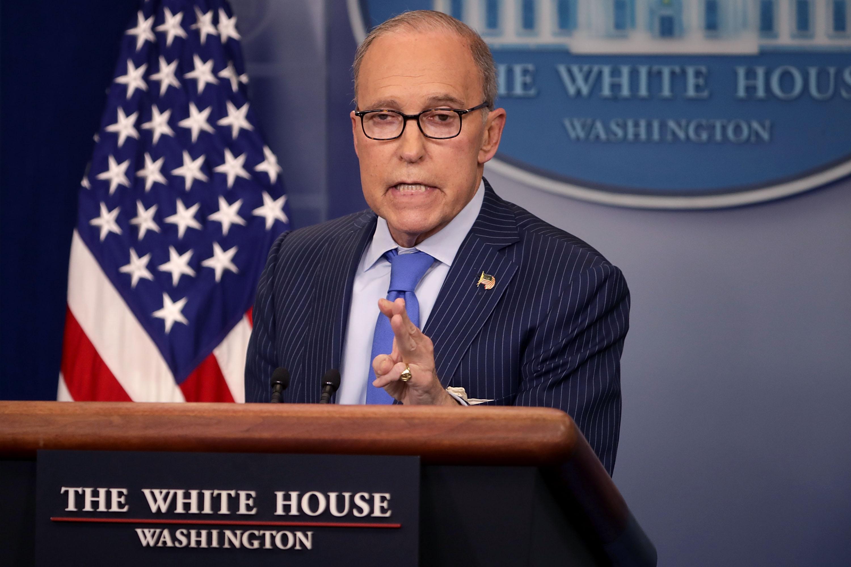 白宮經濟顧問庫德洛(Larry Kudlow)表示,目前尚未決定是否延長3月1日貿易戰停火時限。(Chip Somodevilla/Getty Images)