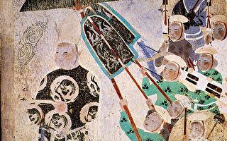 西夏王供養像,敦煌409窟西夏石窟壁畫。(公有領域)