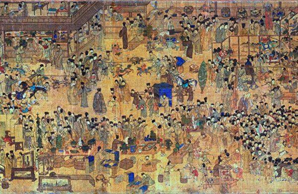 明 佚名畫師繪《上元燈綵圖》(局部)描繪了晚明南京城元宵節熱鬧非凡景象。(Ws227/Wikimedia commons)