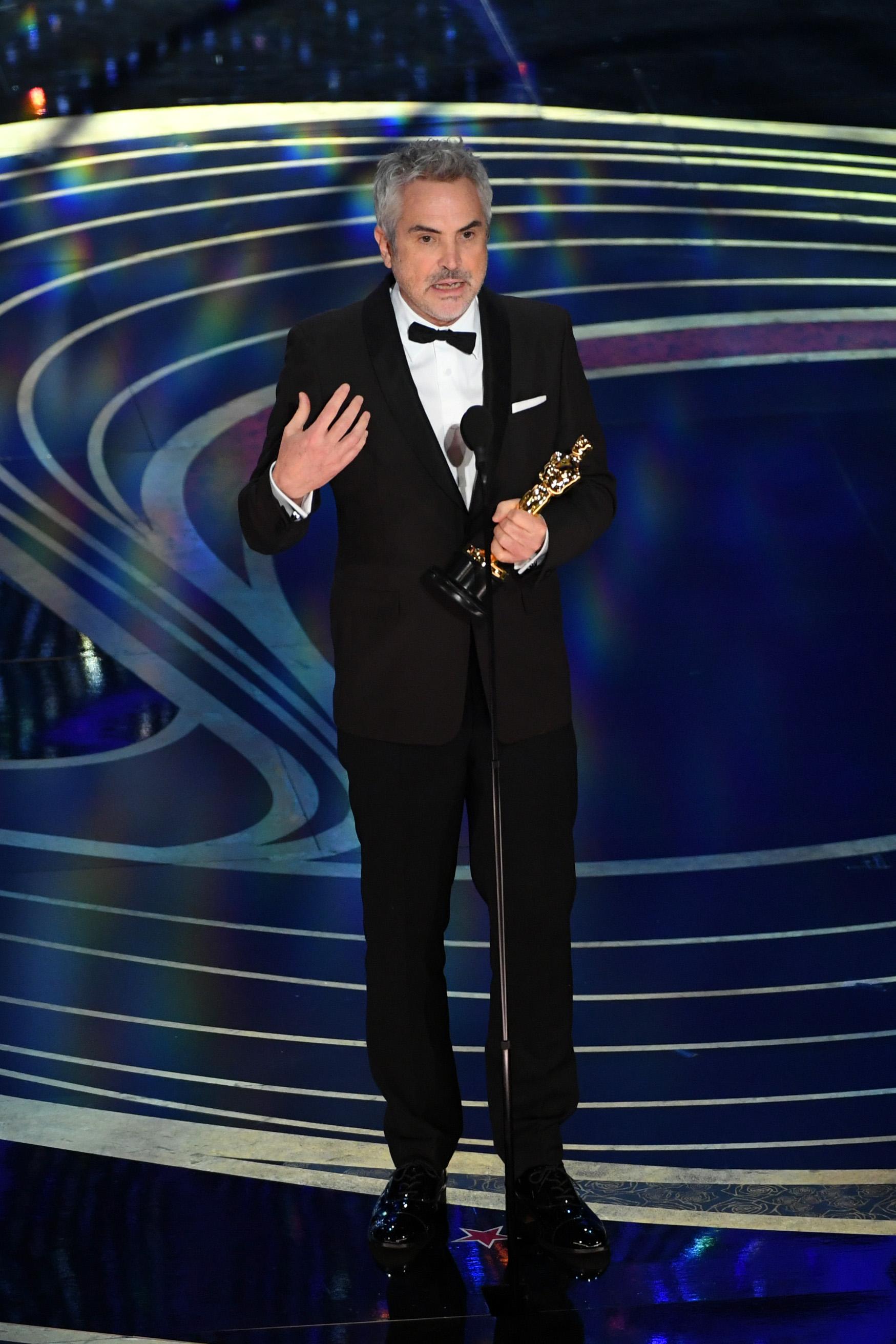 演艾方索柯朗憑《羅馬》獲得最佳導演,是他第二次獲得奧斯卡最佳導演獎。 (Kevin Winter/Getty Images)
