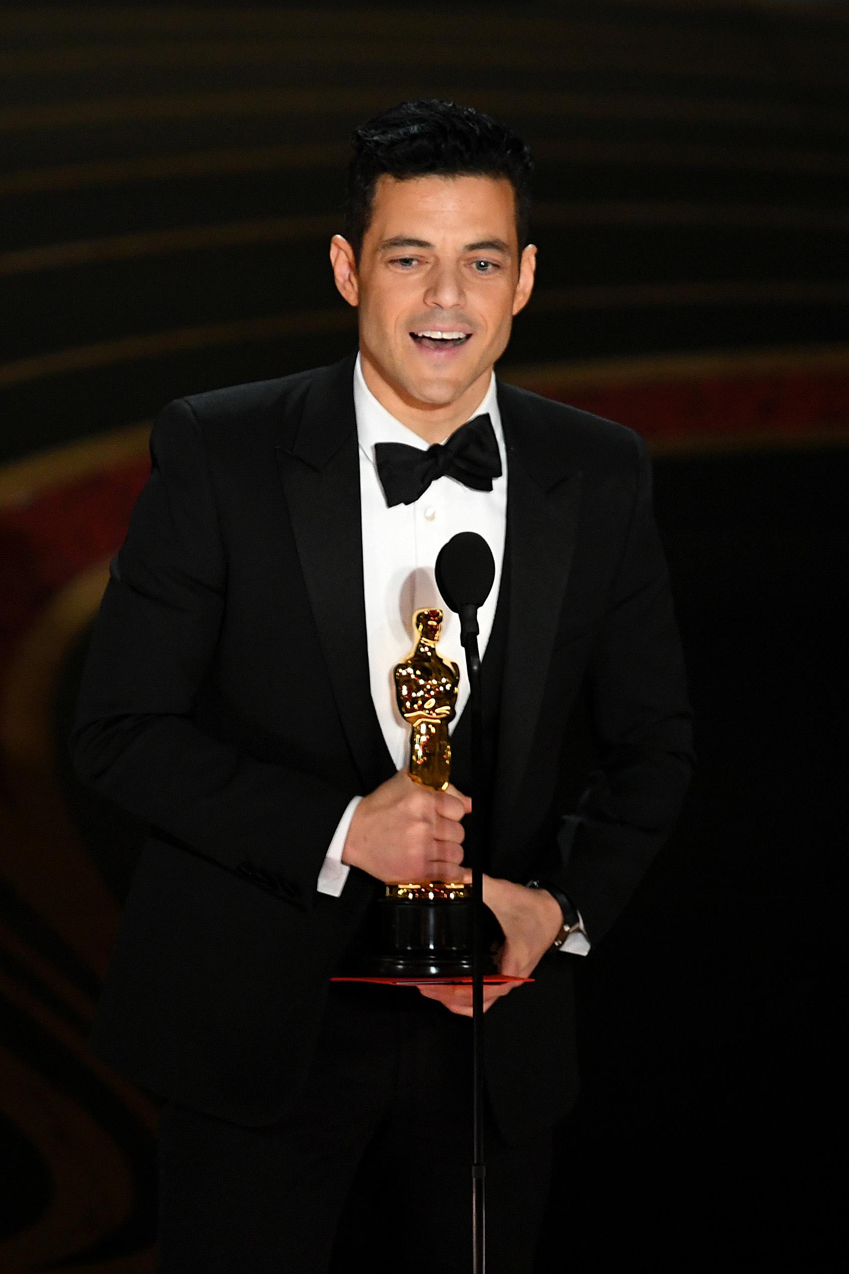 雷米馬利克年初獲得金球獎影帝后再下一城,憑藉《波希米亞狂想曲》榮膺最佳男主角。 (Kevin Winter/Getty Images)