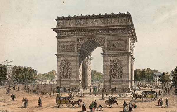The Arc de Triomphe in Paris, built to celebrate Napoleon's victory over the Austrians at Austerlitz in 1805. Building began in 1806 to a design by Chalgrin, and was completed in 1836. (Photo by Hulton Archive/Getty Images)