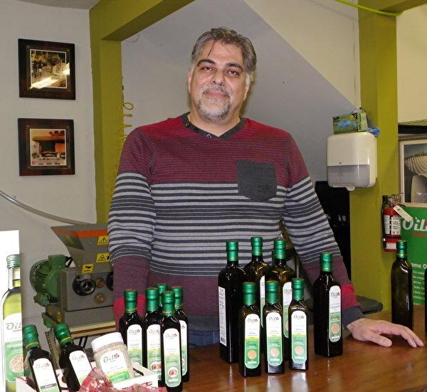 Oila Canada採用傳統的低溫壓榨法,從食物中提出特級初榨食用油。圖為該公司老闆Ramin Ghodsi。(易文/大紀元)
