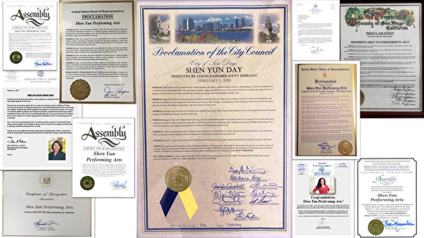 神韻藝術團2019年巡迴演出再臨聖地牙哥之際,當地26名各級政要頒發賀信或褒獎,感謝神韻藝術團為弘揚傳統文化所做的貢獻。做為一縣之首的聖地牙哥縣監察委員會宣佈,神韻演出的2月7日至17日為「聖地牙哥縣神韻周」。聖地牙哥市也頒佈了由市議會通過、市長簽署的「聖地牙哥神韻日」褒獎令。(大紀元合成圖)