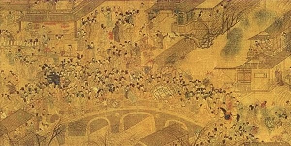 明 佚名畫師繪《上元燈綵圖》(局部)描繪了晚明南京城元宵走橋的景象。(Ws227/Wikimedia commons)