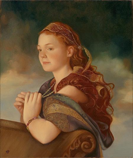 第4屆全世界寫實人物油畫大賽優秀獎作品:Mary Phillips,《待位皇后埃斯特》,20 × 24英吋。(新唐人全世界寫實人物油畫大賽組委會提供)