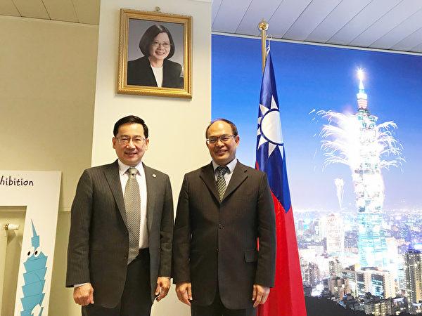 中華民國監察委員張武修(左)3月11日拜會駐歐盟兼駐比利時代表曾厚仁討論公眾外交等議題。(中央社)