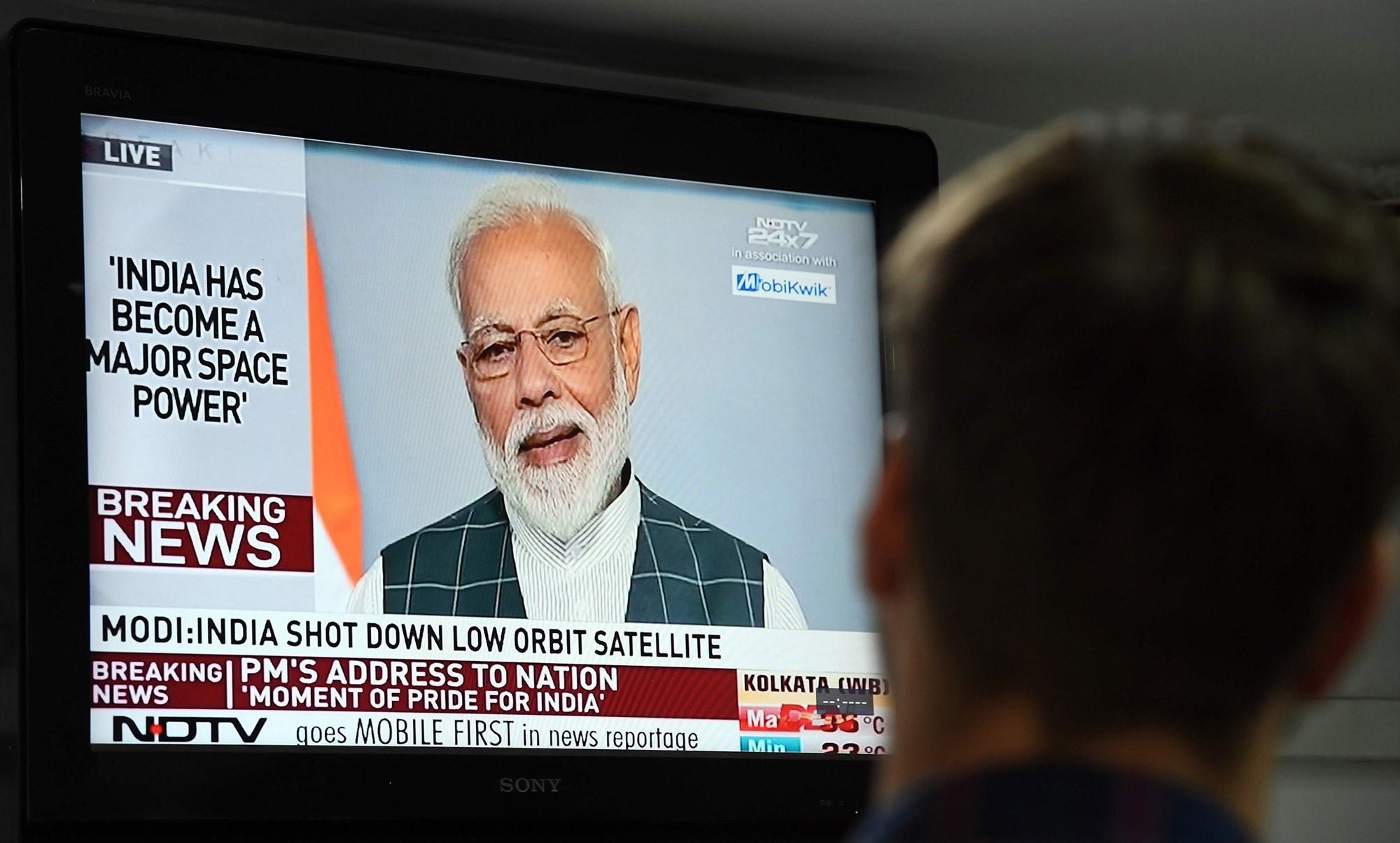 印度總理納倫德拉·莫迪(Narendra Modi)周三(3月27日)發表全國電視講話,宣佈該國晉身「太空強國」。(Prakash Singh/AFP/Getty Images)