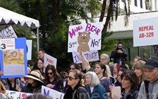 反对激进性教材  加州民众州府集会抗议