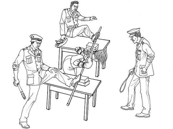 中共酷刑示意圖:「上繩」。(明慧網)