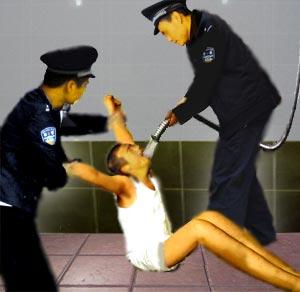 中共酷刑示意圖:灌水。(明慧網)