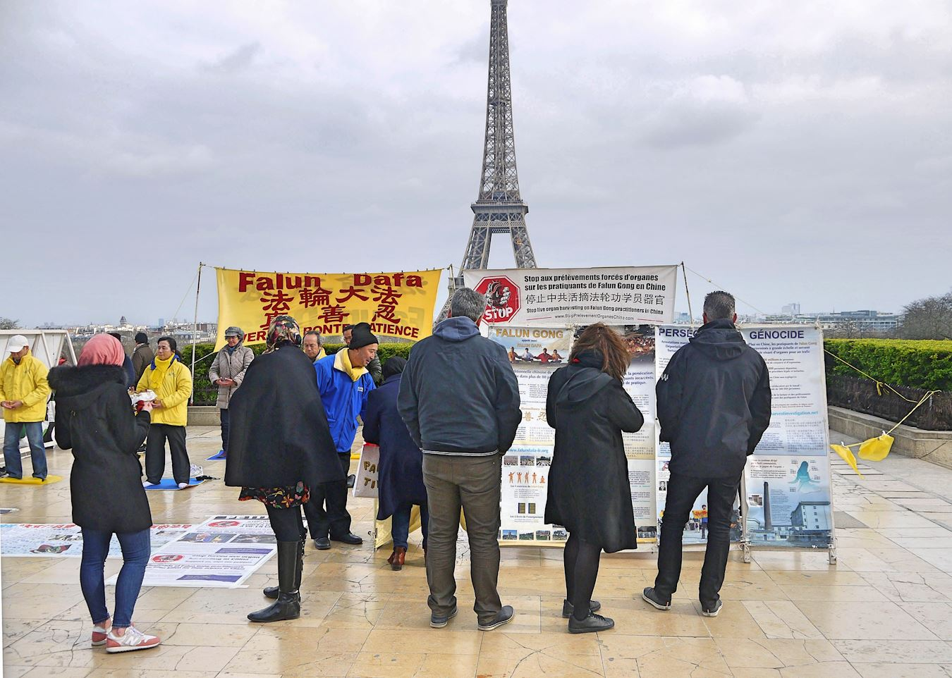 在巴黎的人權廣場上,遊客認真閱讀展板,了解中共活摘法輪功學員器官的真相。(明慧網)