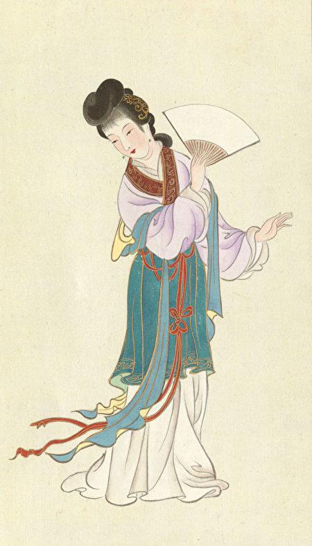 宝钗像,《金陵十二钗正册》,美国卡内基梅隆大学波斯纳中心藏。(公有领域)