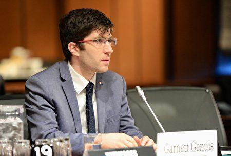 保守黨國會議員加內特・吉尼斯(Garnett Genuis)在聽證會上發言。(任僑生/大紀元)