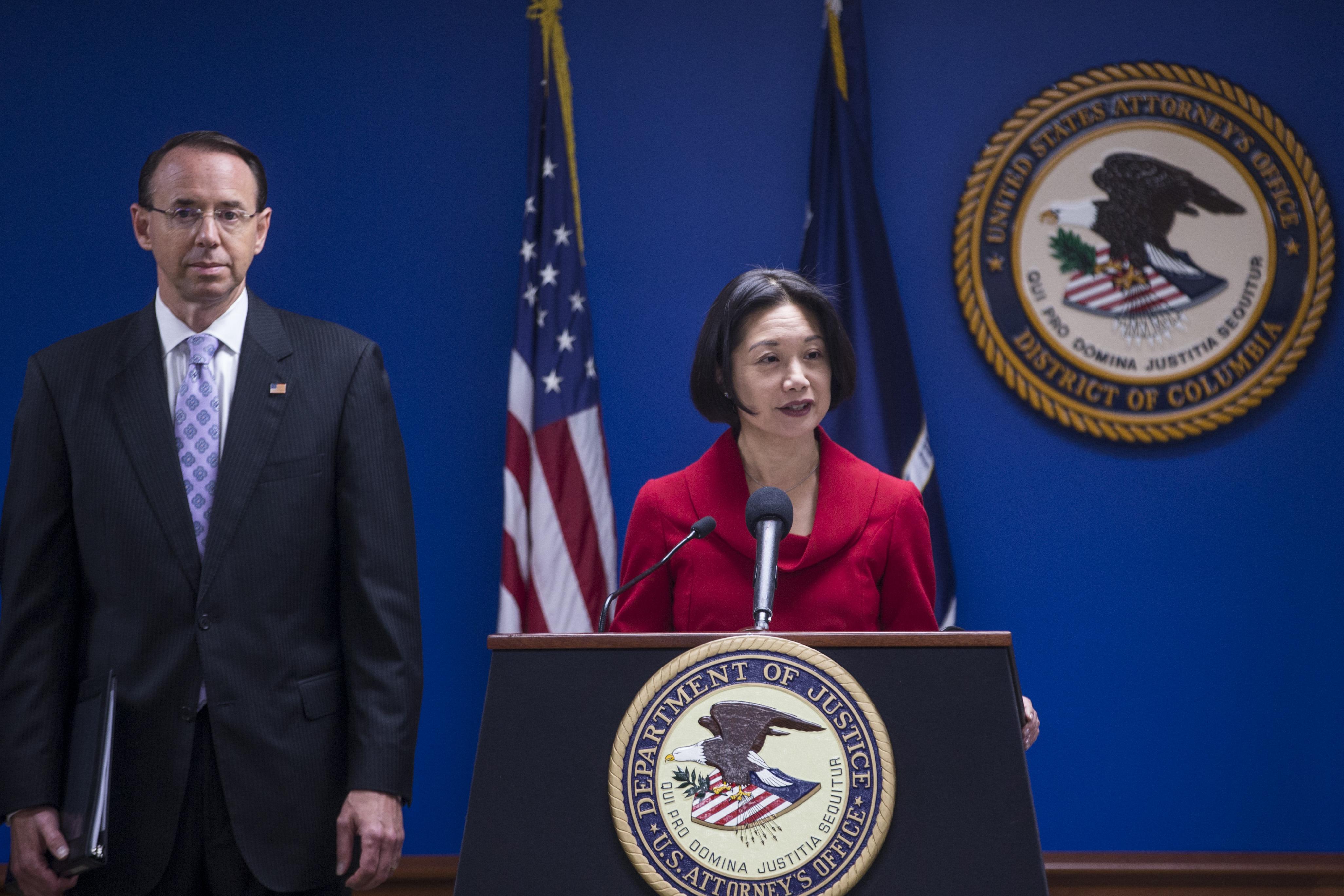 美國司法部副部長雷切爾・布蘭德(Rachel Brand)去年二月離職,該部第三號空缺至今未補。傳特朗普總統將提名台灣移民後裔聯邦檢察官潔西・劉(Jessie Liu,如圖)接替。(Zach Gibson/Getty Images)