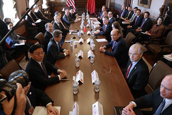 2019年1月底在華盛頓舉行的中美貿易談判。(Chip Somodevilla/Getty Images)